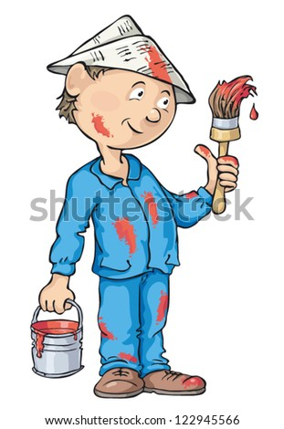 Painter holding a paintbrush and can of paint. Vector cartoon