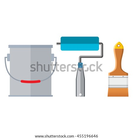 Painter instrument for painting flat brush roller paint jar. Isolated on white background. Vector illustration in flat style - stock vector