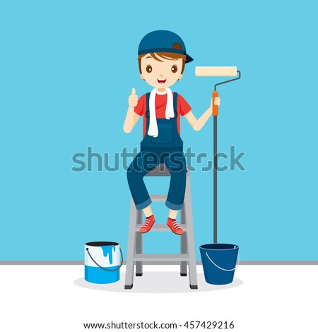 Painter On Ladder Front Of Wall, People Occupations, Profession, Worker, Job, Duty - stock vector