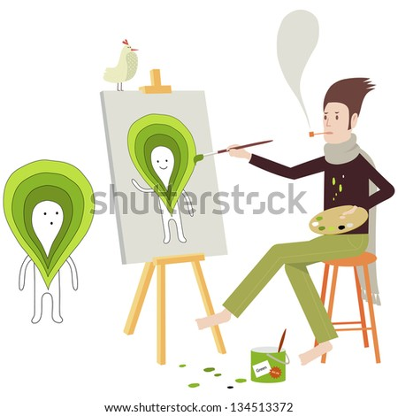 Painter painting a strange green headed character on canvas