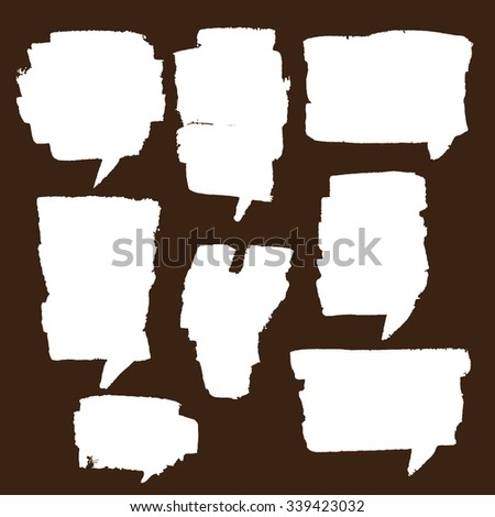 Painter set of speech bubble. It contains eight speech bubbles of different shapes and sizes. Speech bubbles black and white background. - stock vector