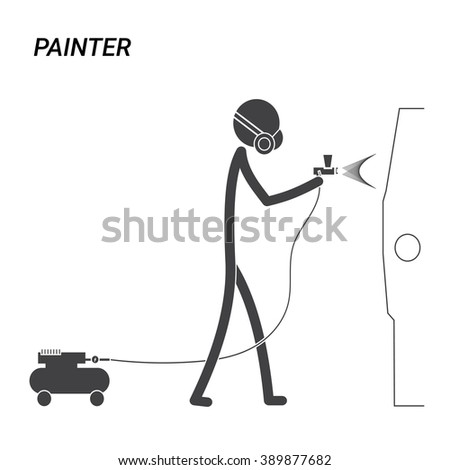 painter stick figure pictogram - stock vector