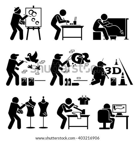 Painter Street Artist Graphic Designer Drawing Arts Stick Figure Pictogram Icons - stock vector