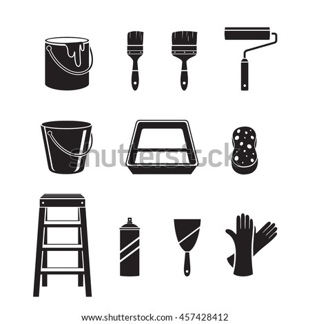 Painter Tools Objects Icons Set, Monochrome, Equipment, Profession, Occupation, Worker, Job, Duty - stock vector