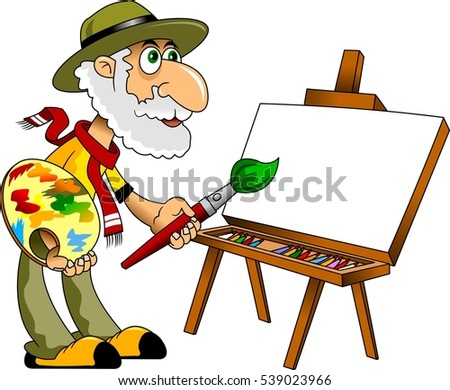 Painter with a white beard draws paints a portrait, vector