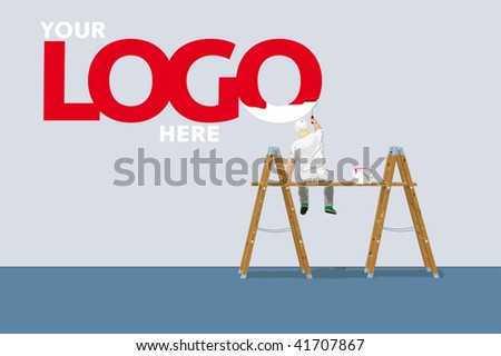 painter with paint-roller on ladders in front of blank wall. extra layer to place your own logo or headline. colors easily adjustable with swatches.
