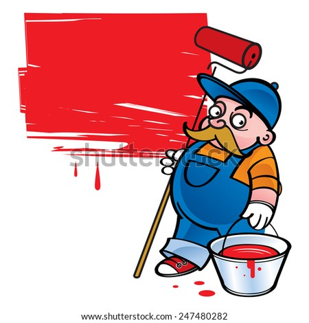Painter - worker painting the wall in red color - stock vector