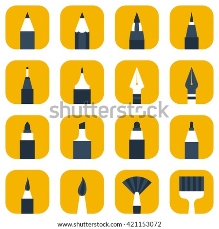 Painting and artist tools set: pencil, pen, brush, paint brush, marker, liner. Drawing and writing vector icon - stock vector