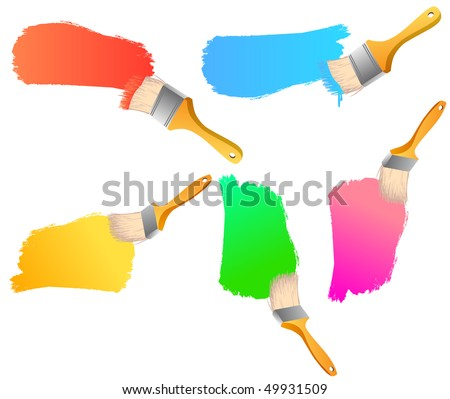 Painting brushes-banners with space for your text - stock vector