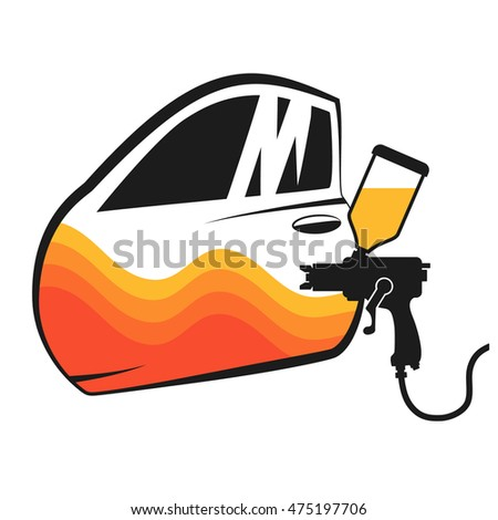 Painting cars vector for business, and spray the car door