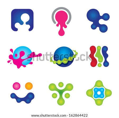 Painting colors splash of social logo community happiness icon set - stock vector