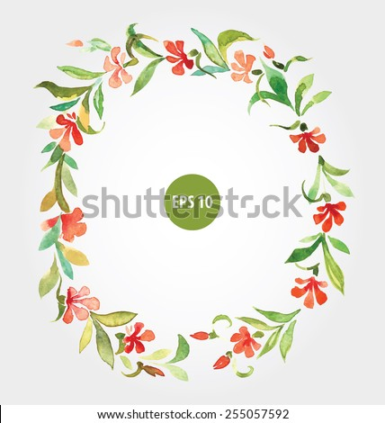 painting flowers border for open card, menu or wedding invition - stock vector