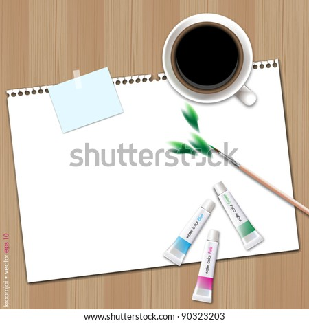 Painting leaf on blank paper with coffee - stock vector
