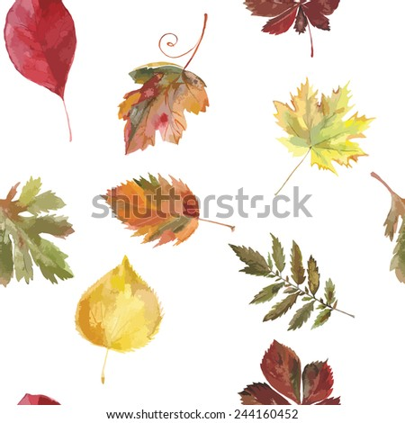 painting leaves, autumn pattern.  - stock vector