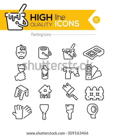 Painting Line Icons - stock vector