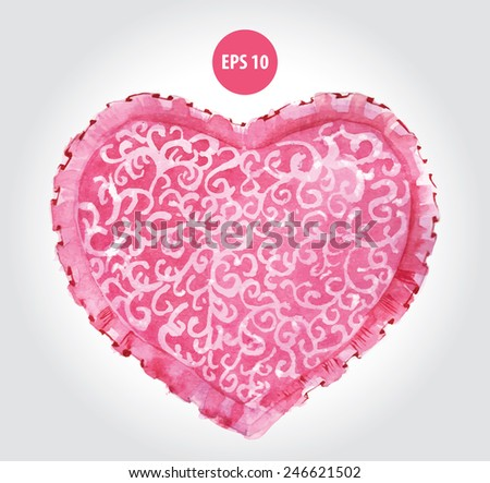 painting love, pink heart, ornament pillow - stock vector