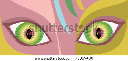 painting of beautiful eye - stock vector