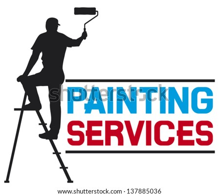 painting services design - illustration of a man painting the wall (painter painting with ladder, silhouette of a painter, painting services symbol) - stock vector