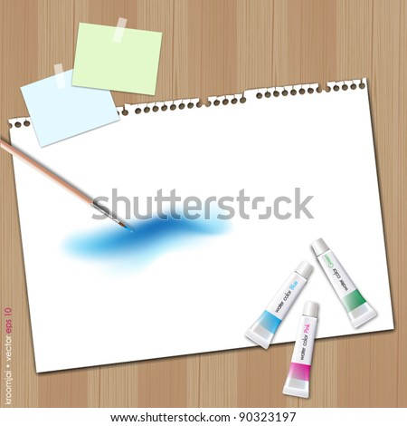 Painting sky on white paper with note. Wood background - stock vector