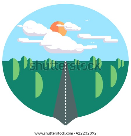 Painting the landscape in the style of flat - stock vector