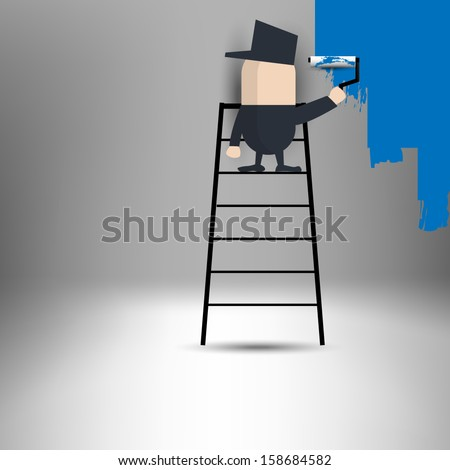 painting the walls - stock vector