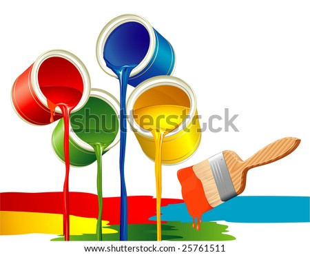 Paints and brush. Vector. - stock vector