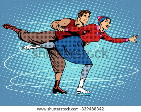 Pair figure skaters ice dance pop art retro style - stock vector
