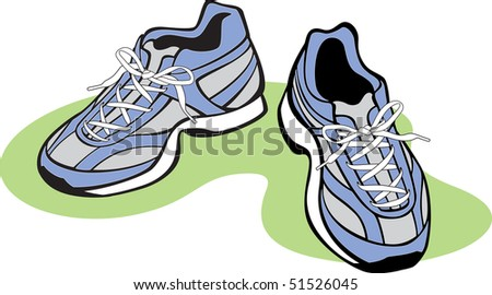 Pair of Athletic Shoes - stock vector