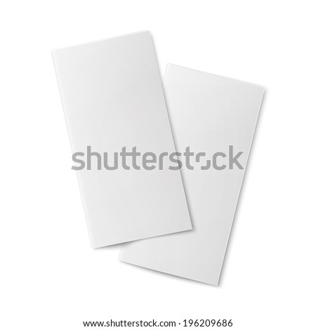 Pair of  blank bifold paper brochures on white background with soft shadows. Vector illustration. - stock vector