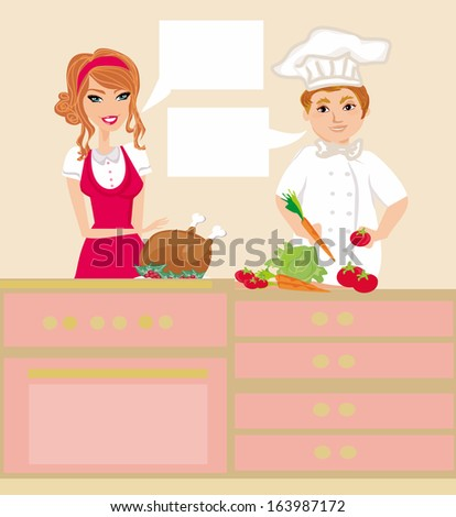 pair of chefs prepares delicious dishes  - stock vector
