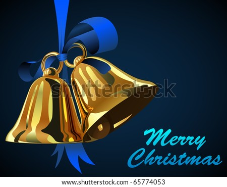 Pair of Christmas bells hanging on blue ribbon with copy space. - stock vector