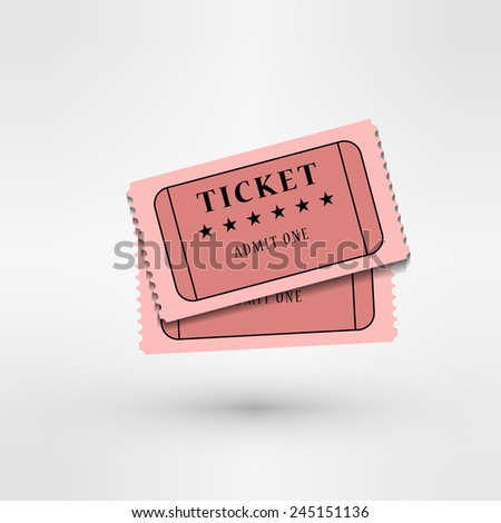 pair of  cinema tickets on white - stock vector