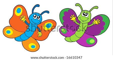 Pair of funny butterflies - vector illustration.