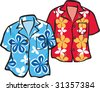 Pair of Hawaiian Aloha Shirts - stock vector