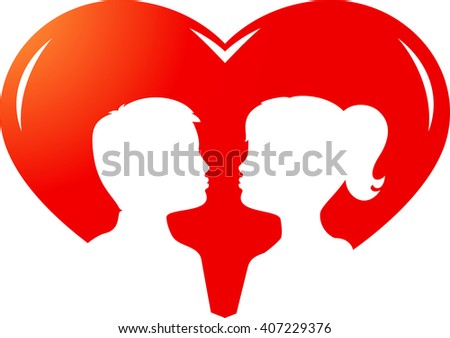 Pair of kissing children in heart. Vector
