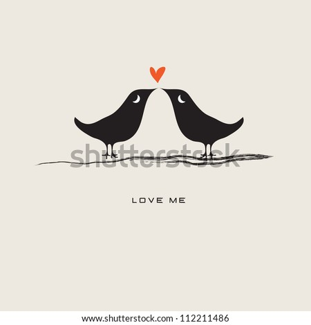 Pair of lovebirds isolated on gray background / Love me - stock vector