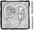 pair of owls in heart on pattern background - stock vector