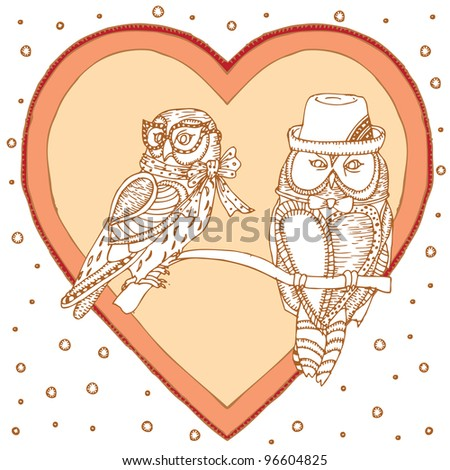 Pair of Owls on Love Background - stock vector