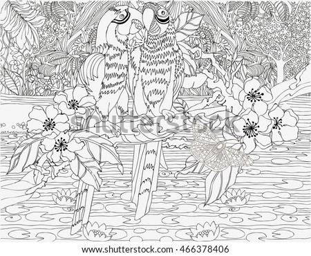 Parrots On A Jungle Background Coloring Pages