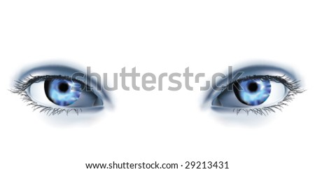 Pair of photorealistic woman's eyes. - stock vector