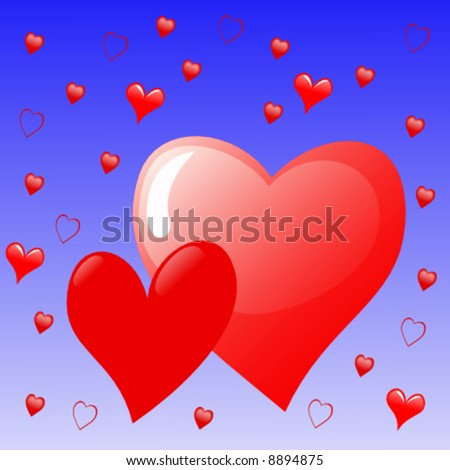 pair of red hearts on blue - stock vector
