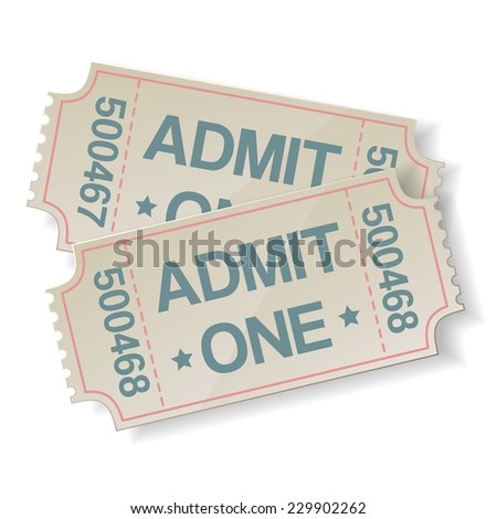 pair of retro cinema tickets on white - stock vector