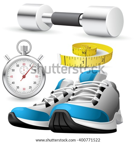 Pair of running shoes, stopwatch and measuring tape - stock vector