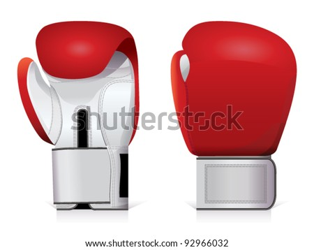Pair of shiny, red and white boxing gloves. - stock vector