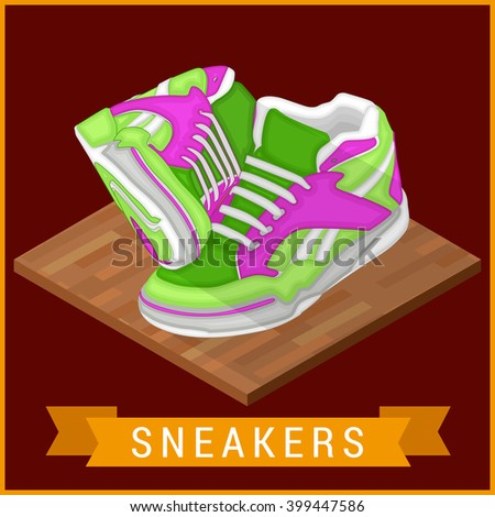 Pair of sneakers flat isometric icon. Unbranded running shoe, sneaker illustration. Running shoe pictogram. Two Running shoes. Bright Sport sneakers symbols. Vector illustration. - stock vector