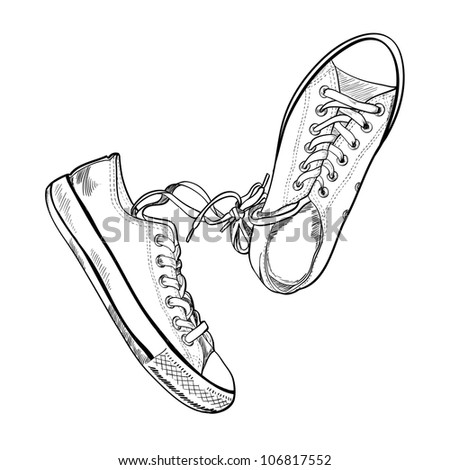 Pair of sneakers on white background drawn in a sketch style. One gumshoe lying on the side. Vector illustration. - stock vector