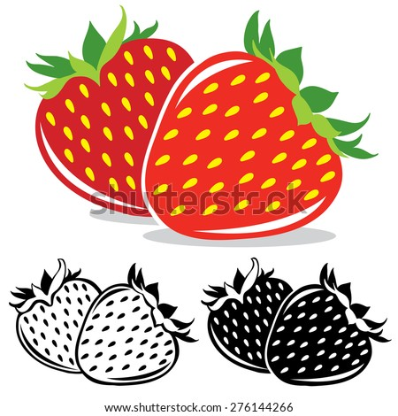 Pair of strawberries in color and black and white, vector illustration - stock vector