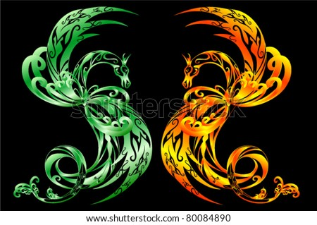 pair of vector dragons - golden and green - stock vector