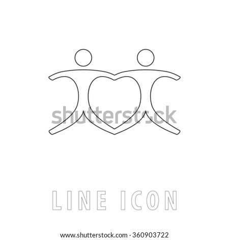 Pair Outline simple vector icon on white background. Line pictogram with text  - stock vector