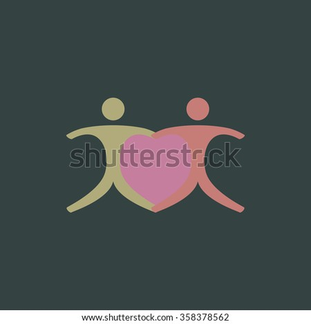 Pair with Heart Retro dim color vector flat icon - stock vector